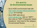 q s and a s on environmental issues