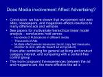 does media involvement affect advertising