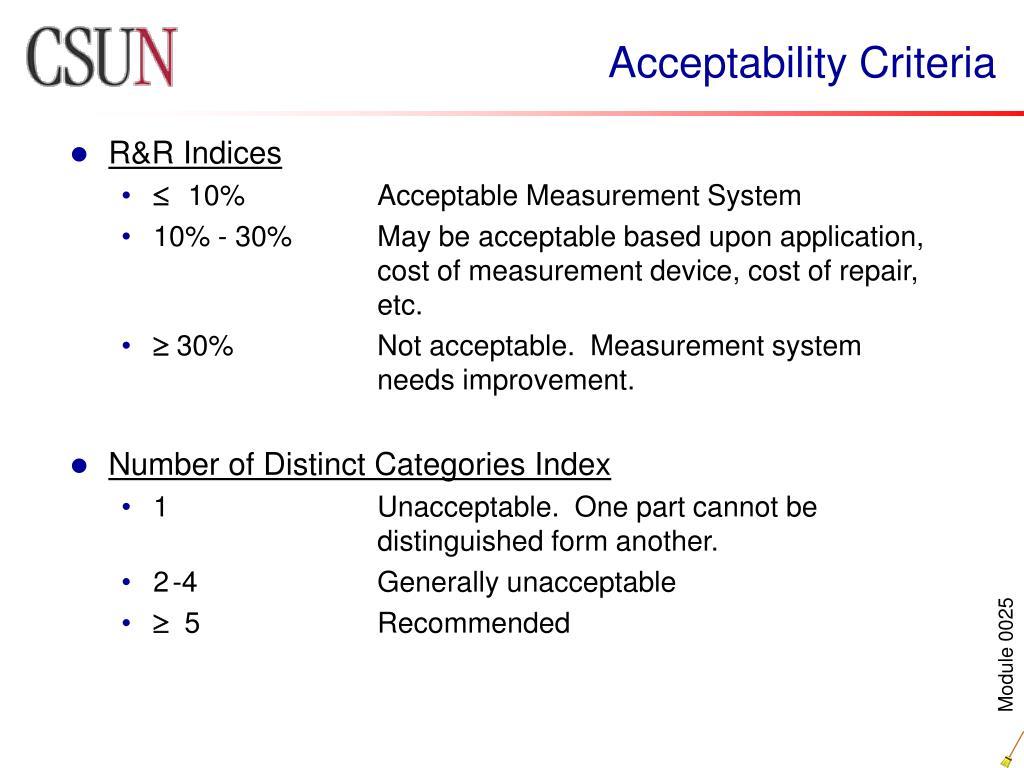 Acceptability Criteria