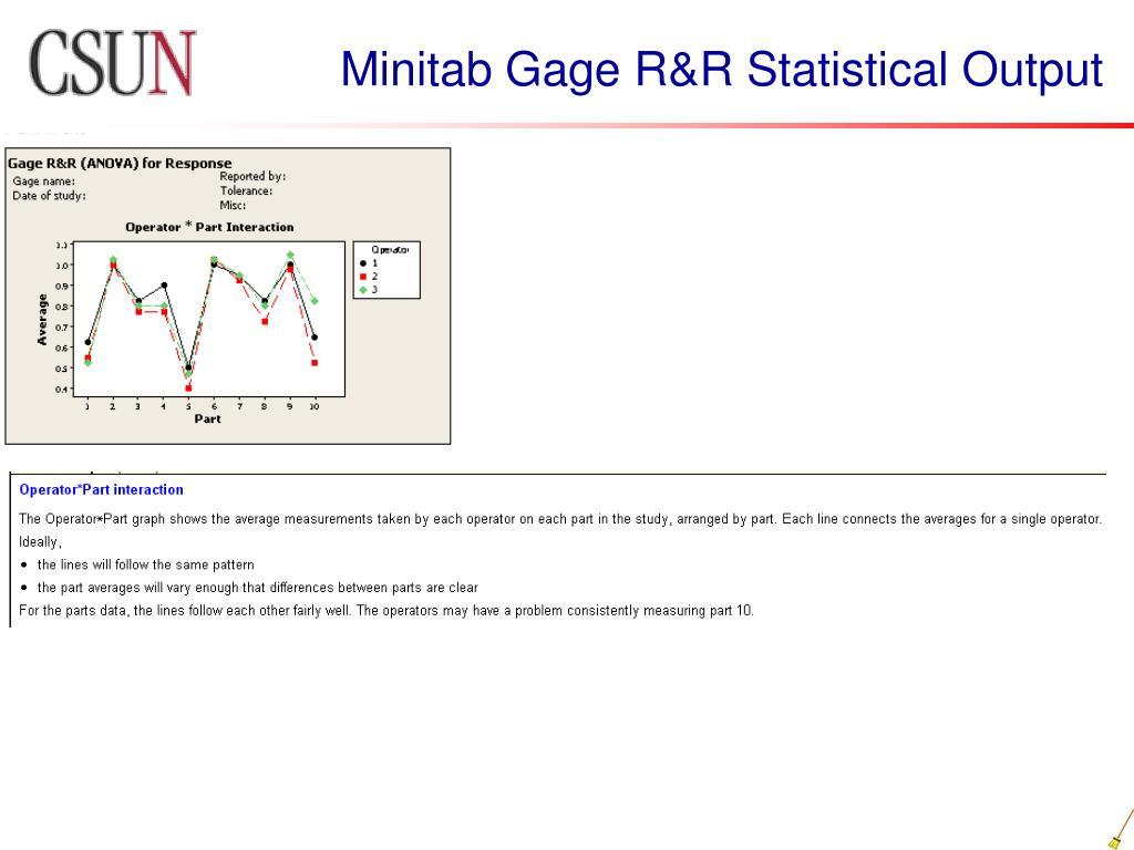 Minitab Gage R&R Statistical Output