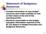 statement of budgetary resources