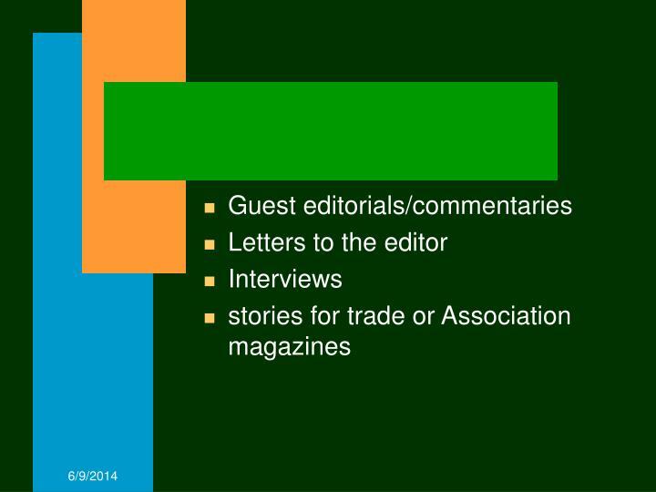 Guest editorials/commentaries