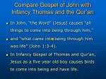 compare gospel of john with infancy thomas and the qur an
