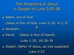 the ancestors of jesus in gospel of luke 3 23 38