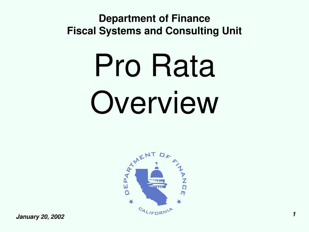 pro rata overview l.