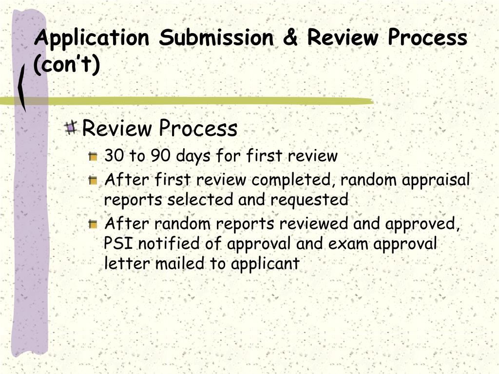 Application Submission & Review Process (con't)