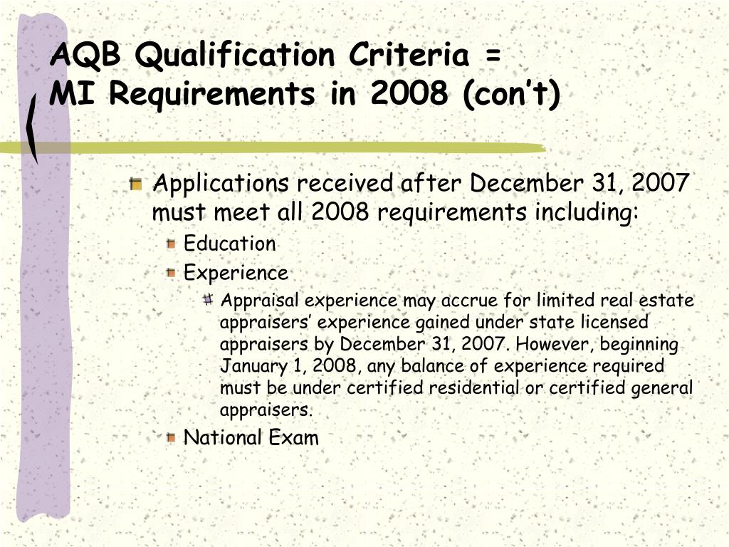 AQB Qualification Criteria =