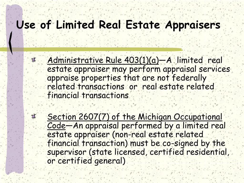 Use of Limited Real Estate Appraisers