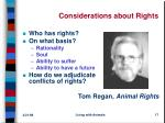 considerations about rights