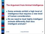 the argument from animal intelligence