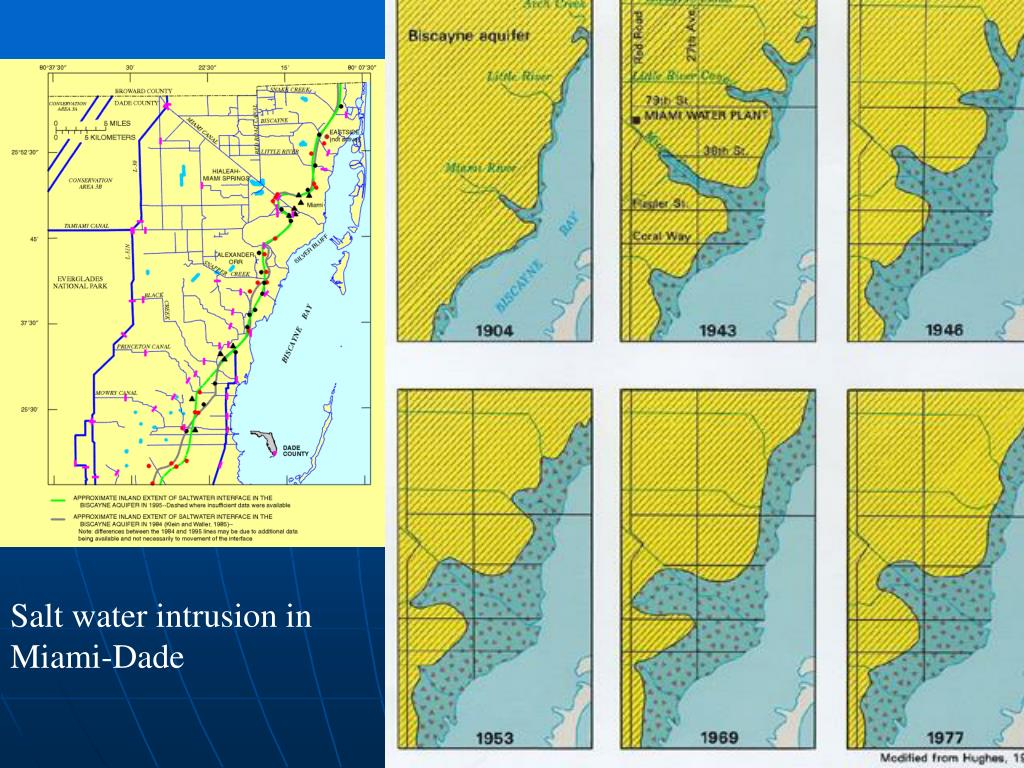 Extent of salt water incursion in Miami-Dade