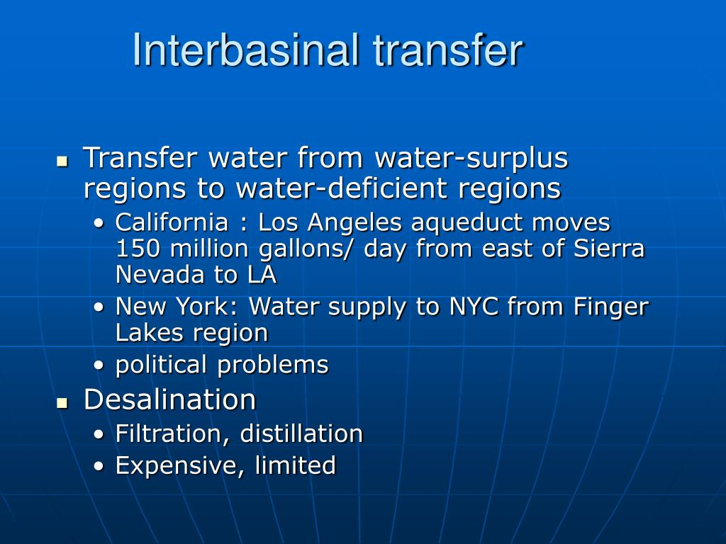 Interbasinal transfer