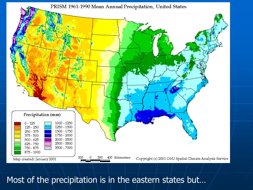 Most of the precipitation is in the eastern states but…