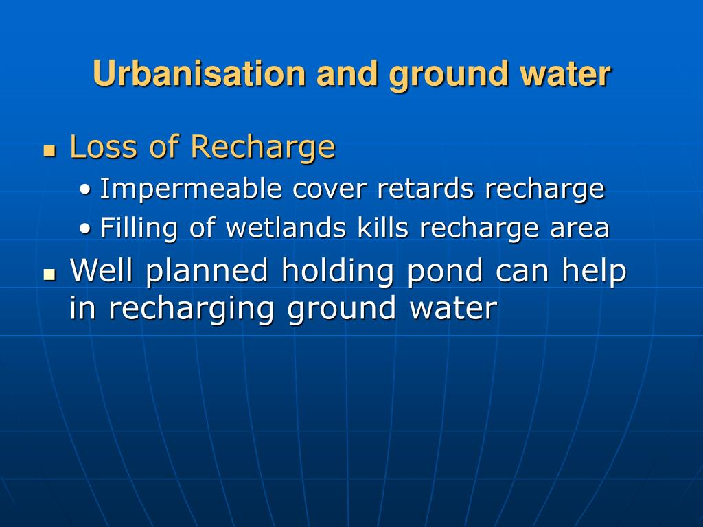 Urbanisation and ground water