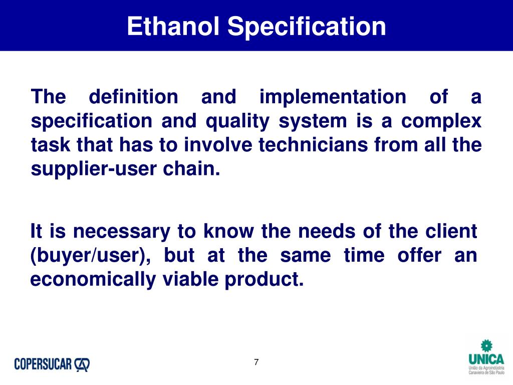 Ethanol Specification
