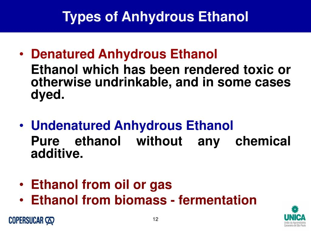 Types of Anhydrous Ethanol