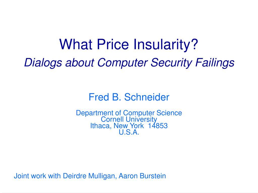 What Price Insularity?