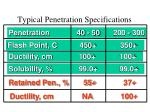typical penetration specifications