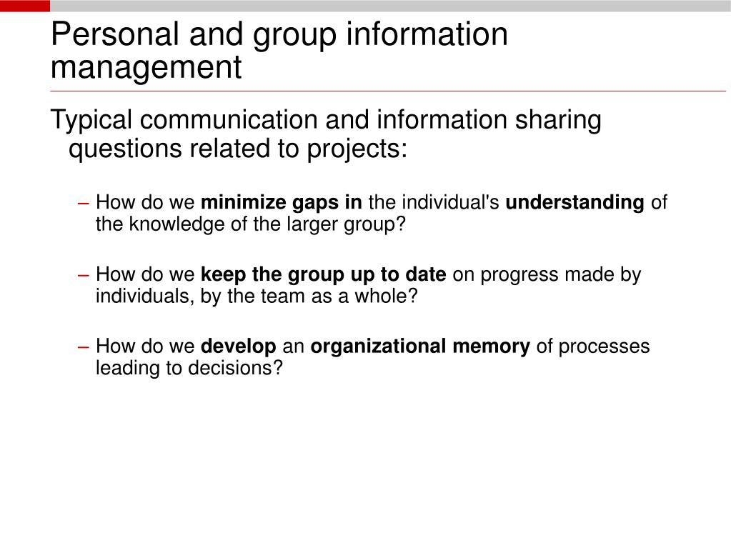 Personal and group information management