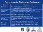 psychosocial outcomes indexes
