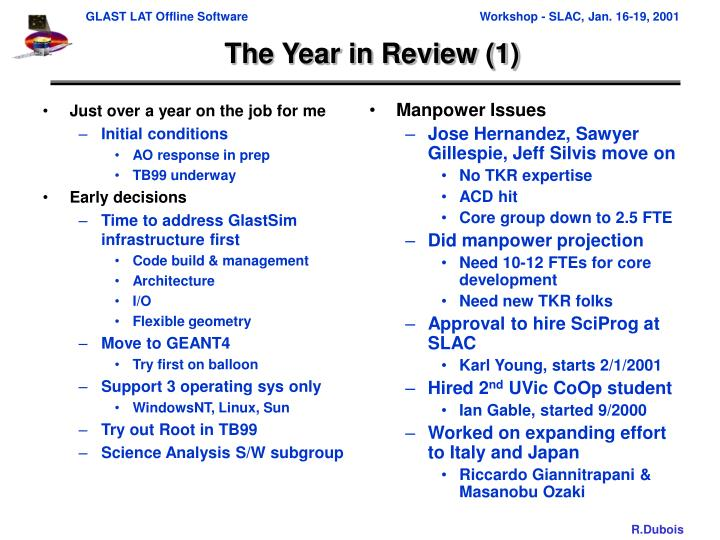 The year in review 1