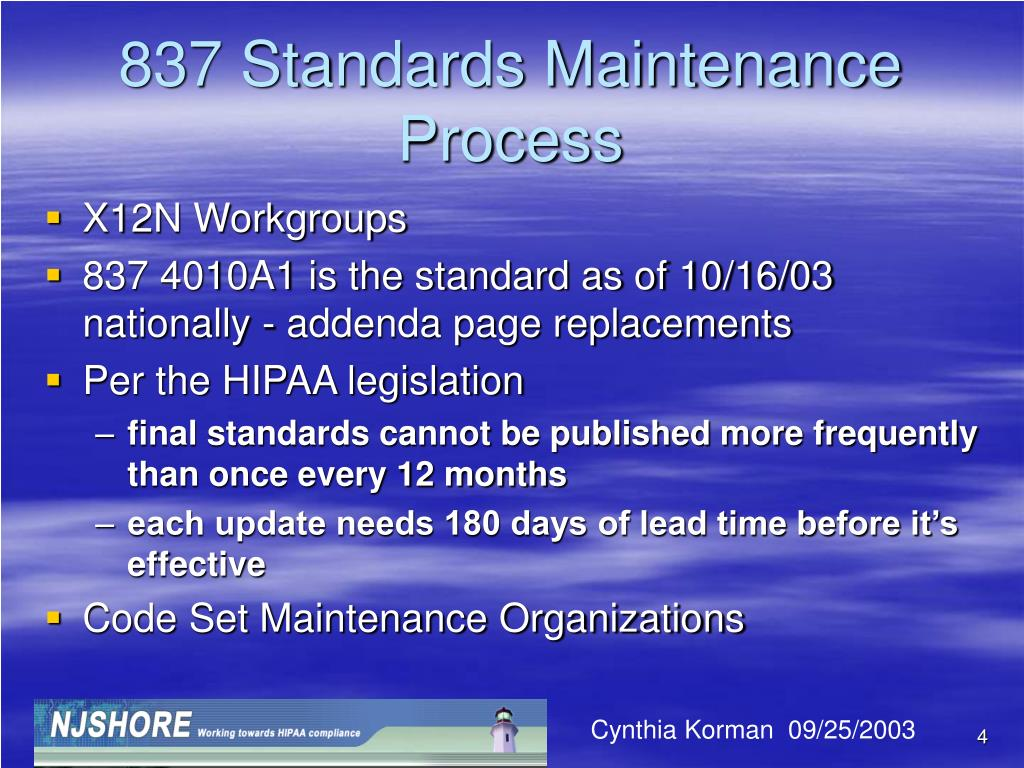 837 Standards Maintenance Process