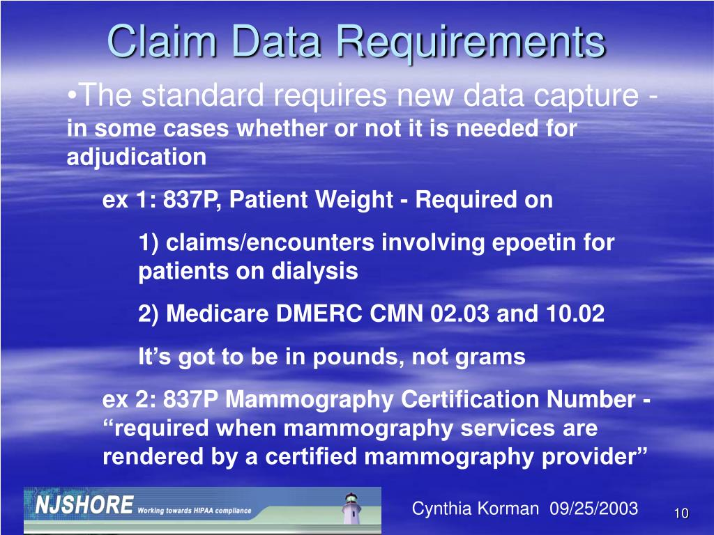 Claim Data Requirements