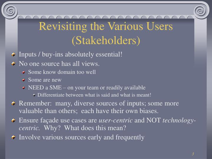 Revisiting the various users stakeholders