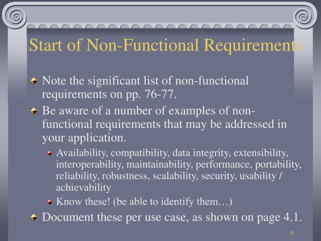 Start of Non-Functional Requirements