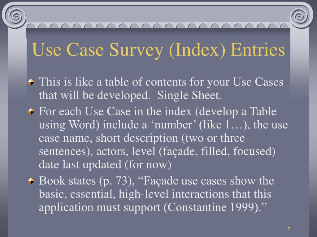 Use Case Survey (Index) Entries