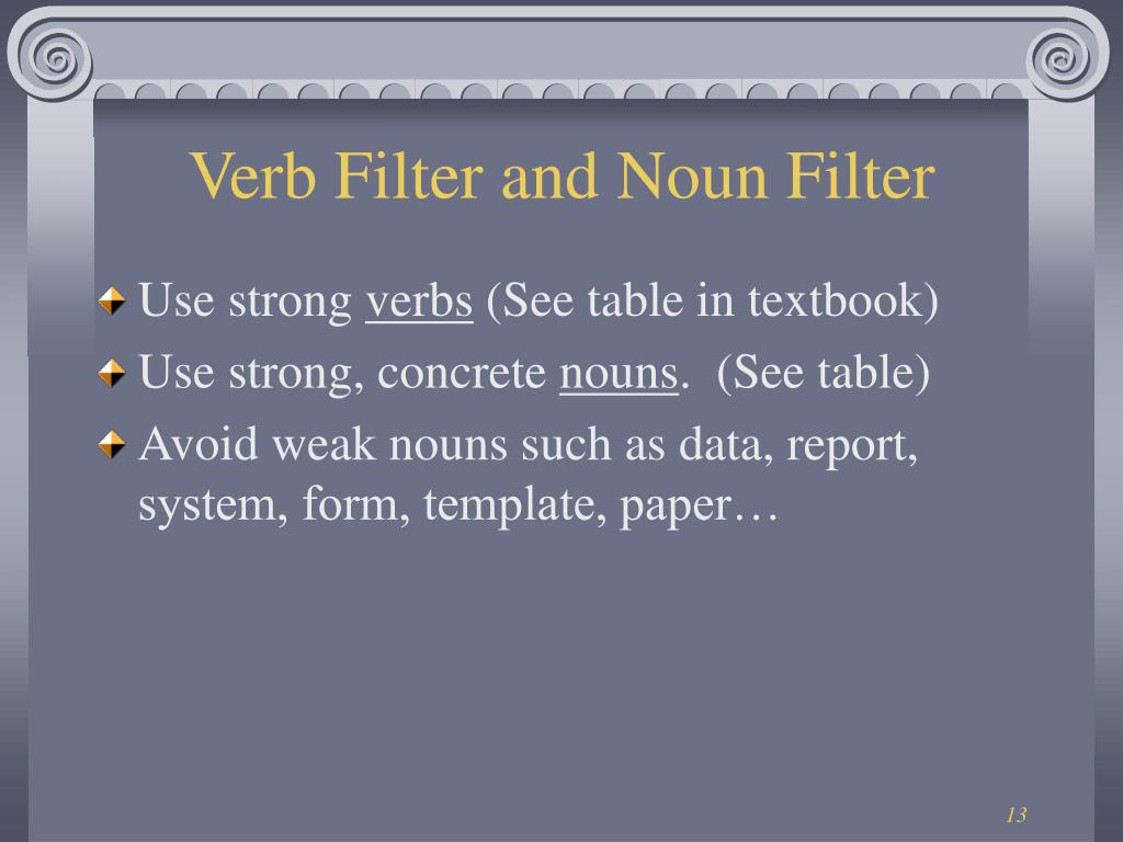 Verb Filter and Noun Filter