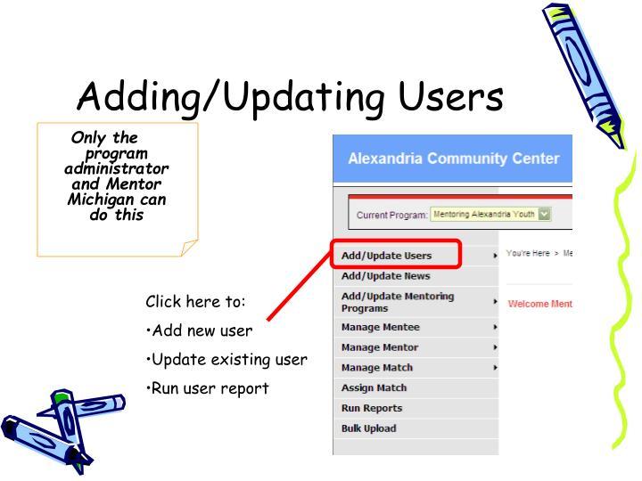 Adding/Updating Users