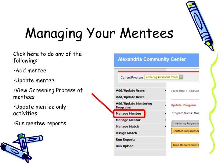 Managing Your Mentees