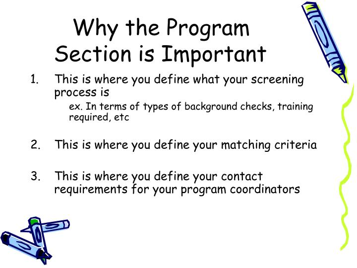 Why the Program Section is Important