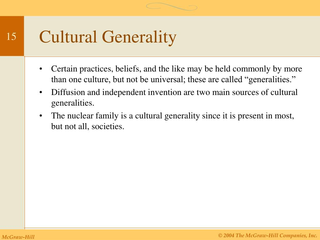 Cultural Generality