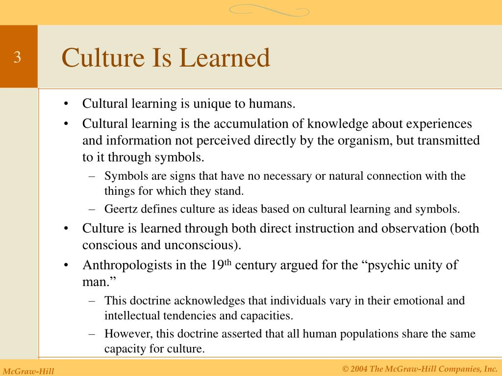 Culture Is Learned
