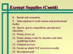exempt supplies contd