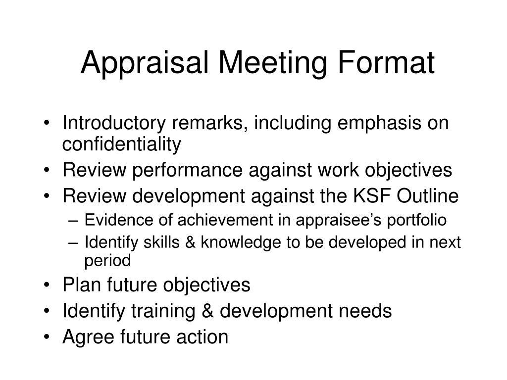 Appraisal Meeting Format