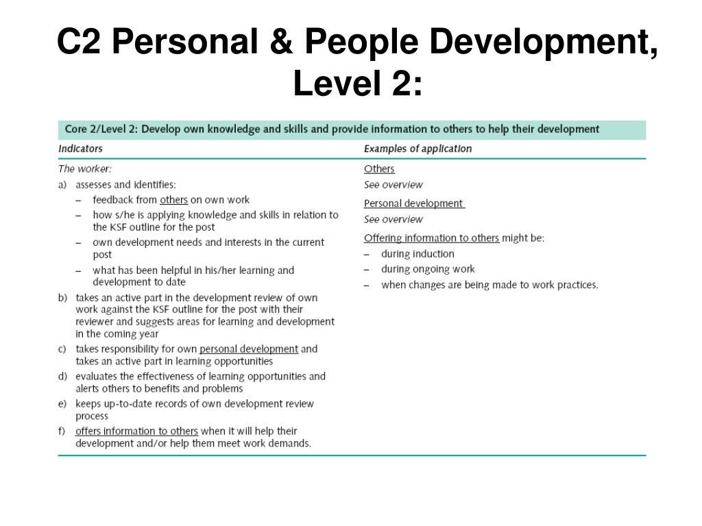 C2 Personal & People Development, Level 2: