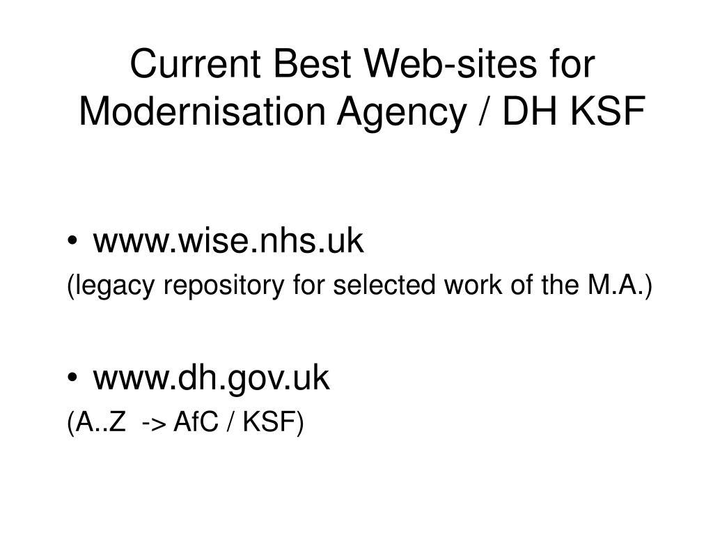 Current Best Web-sites for Modernisation Agency / DH KSF