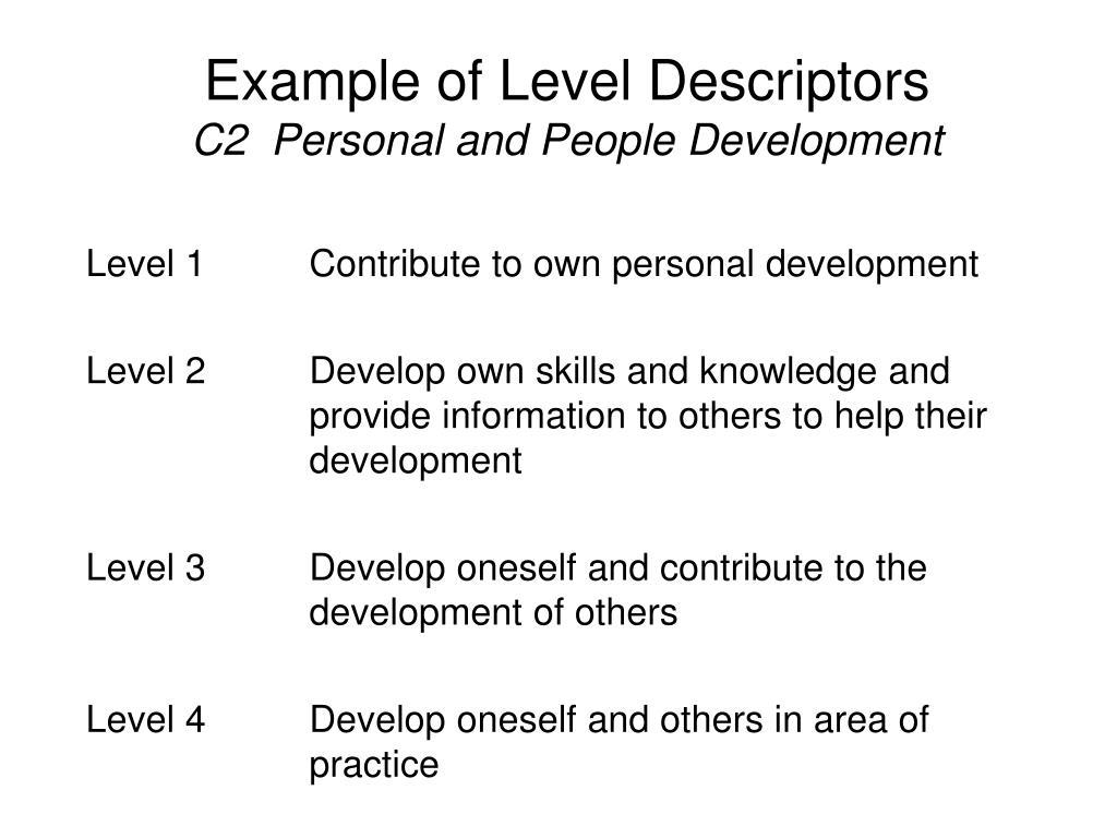 Example of Level Descriptors