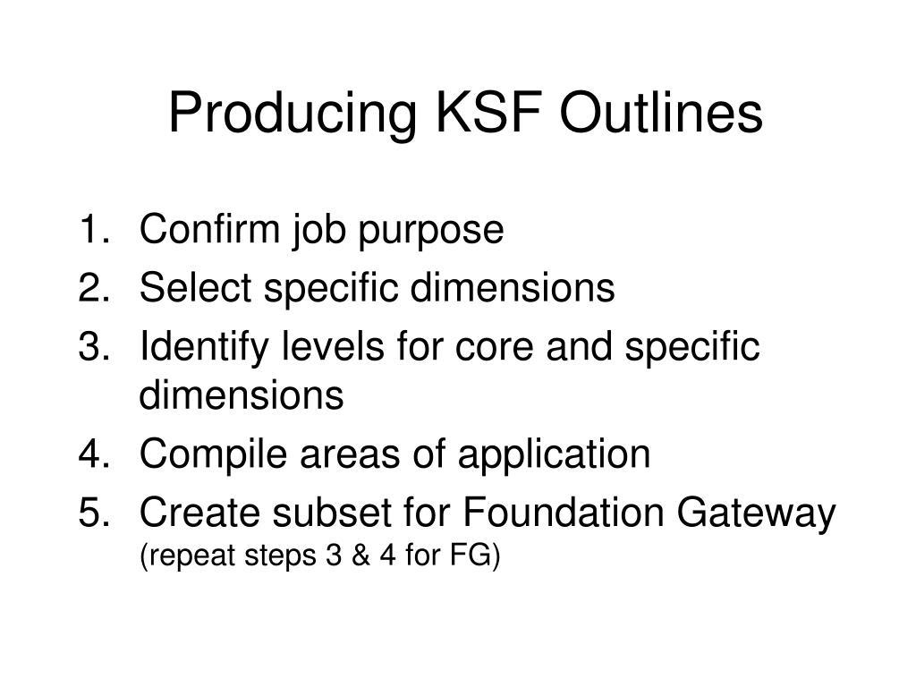 Producing KSF Outlines