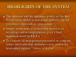 highlights of the system