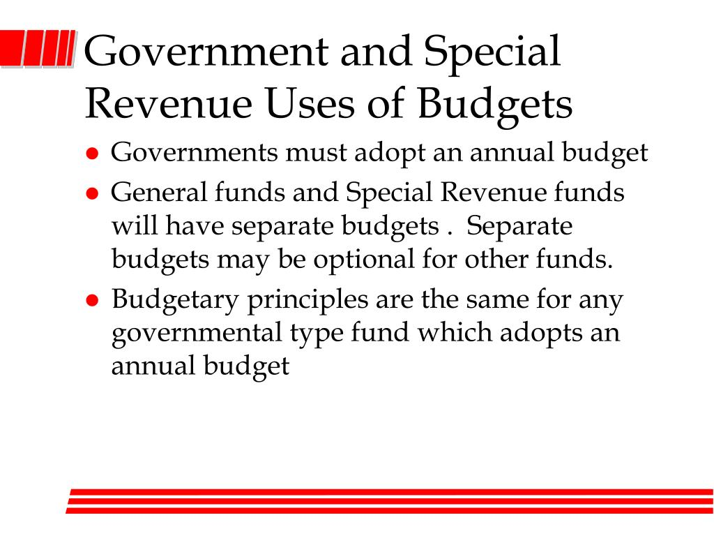 Government and Special Revenue Uses of Budgets