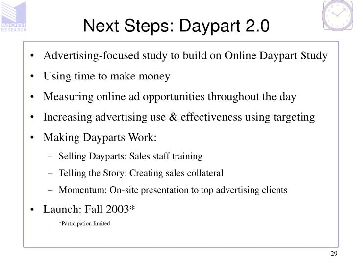 Next Steps: Daypart 2.0