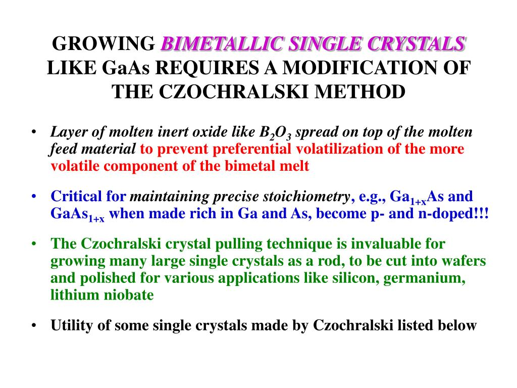 PPT - GROWTH OF SINGLE CRYSTALS: VAPOR, LIQUID, SOLID PHASE