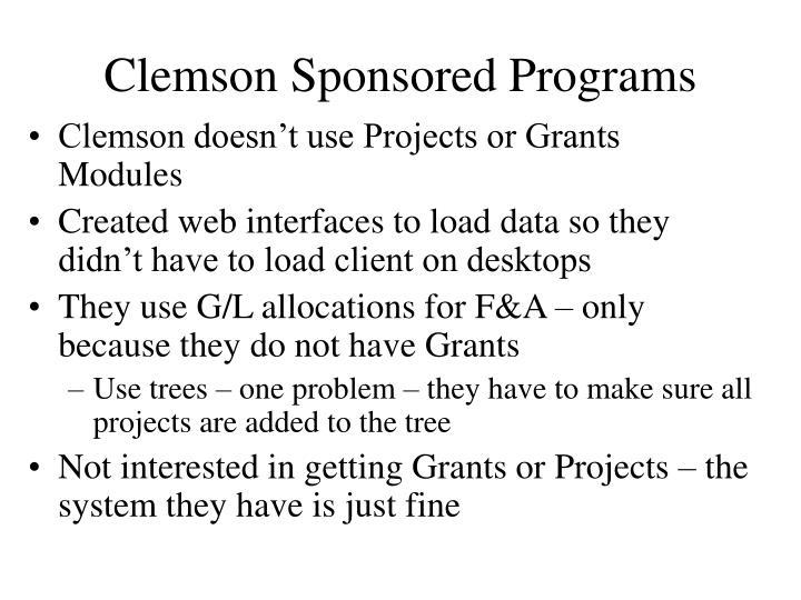 Clemson Sponsored Programs