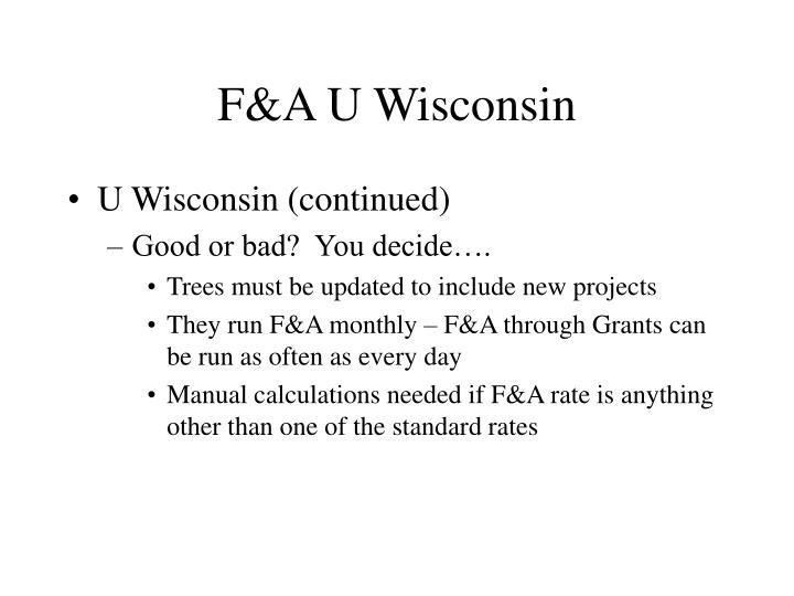 F&A U Wisconsin
