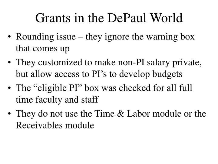 Grants in the DePaul World