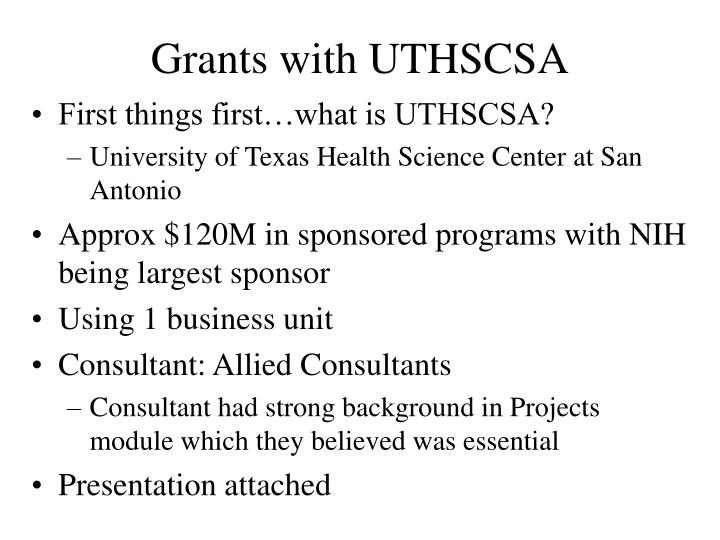Grants with UTHSCSA